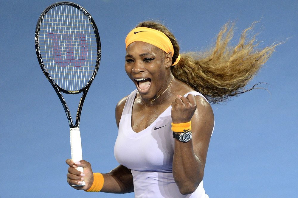 Serena Williams celebrates after beating Victoria Azarenka at the 2014  Brisbane International on January 4,