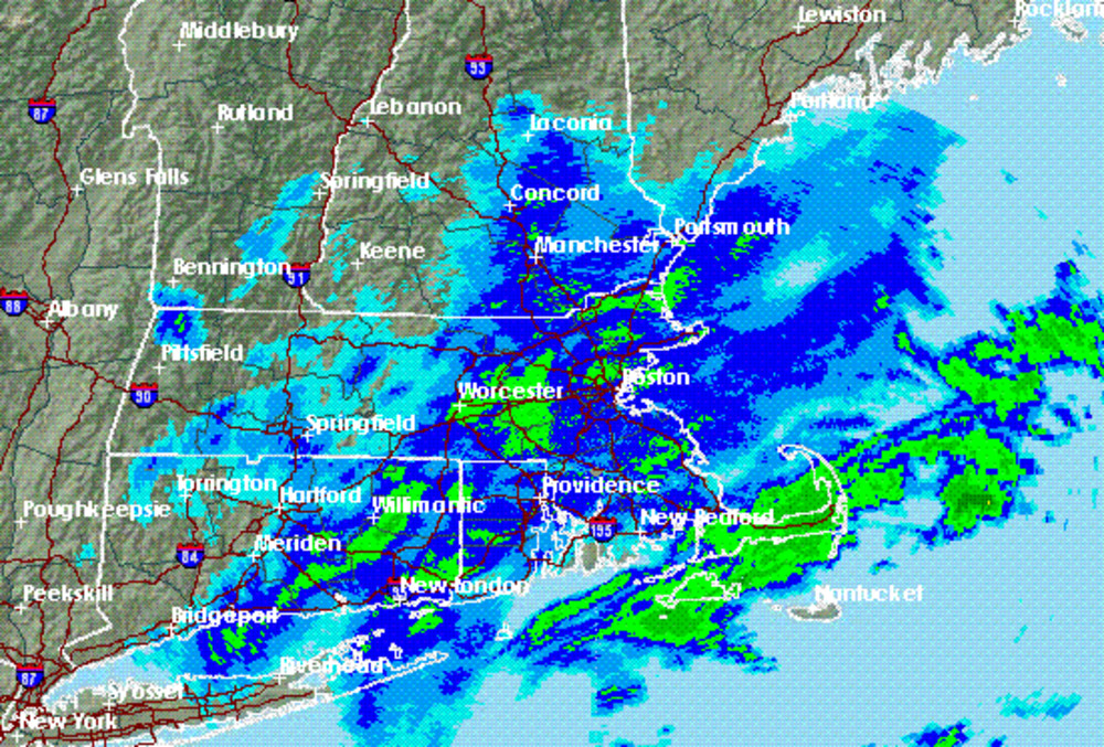 Boston weather radar at approximately 6 a.m. Thursday as Cape Cod continues  to be hit hard by the latest nor'easter. Boston Nat